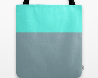 Robin's Egg Blue and Gray Tote Bag, Color Block Tote Bag, Canvas Tote Bag, Robin's Egg Blue Tote, Gray Tote, 16 x 16 inch tote bag