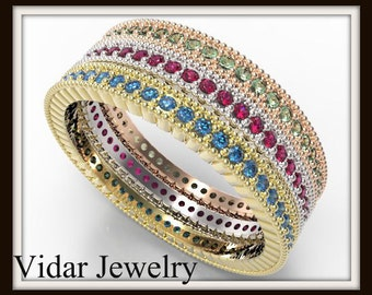 Three Tone Gold Multi Color Gem Pave Microbands,Unique Filigree Ring,Stackable Rings,Womens Wedding Band,Multi Color Rings,Unique Band