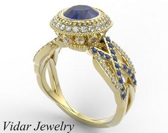 Blue Sapphire Engagement Ring,Unique Engagement Ring,Diamond Engagement Ring,Engagement Ring,Halo Engagement Ring,Custom Engagement Ring
