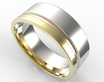 Mens Wedding Band,Custom Three Tone Gold Wedding Band For Men's,Unique Wedding Band,Wide Wedding Band,14K Wedding Ring,Wedding Rings,