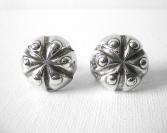William Spratling Sterling Silver Round Earrings With Screw Back Closure