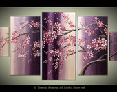 "X-Large Original Modern Impasto Painting on Gallery wrapped Canvas, abstract  88"" x40"" - Flowing  Blossoms-"
