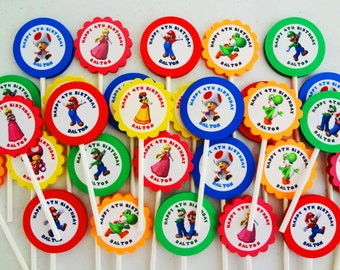 30 ct Super Mario Brothers personalized cupcake toppers birthday party favors decoration supply