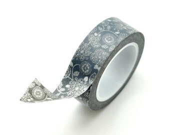 Washi Tape Paper Masking Tape - Grey Floral
