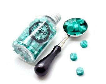 B20 Sealing Wax Beads in Bottle. Metallic Green. Spoon & Candle Available for Set.