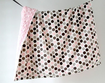 Baby Blanket, Pink and Grey Dots with Pink Minky Swirl, Ready to Ship