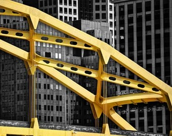 Downtown Pittsburgh Bridge Photo, HDR photograph, black and white, and yellow, fine photography prints, Urban Menagerie