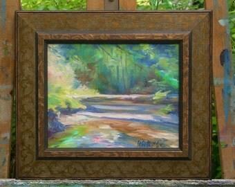 "small painting, ""Amazing Color Dance"", Upper Priest Lake Idaho, impressionistic landscape, sunlight, natural bridge"
