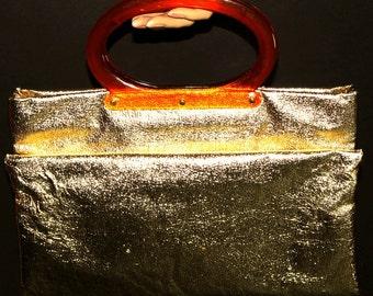 Vintage 1960s Purse Gold Handbag Tote Bag Garden Party Rockabilly Mad Man Retro Gold Purse Femme Fatale Couture
