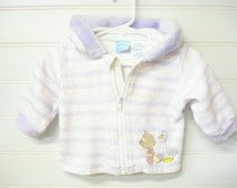 Vintage Clothes, Baby Girl Jacket, Lavender and Pink Baby Jacket, Precious Moments Baby Coat. #