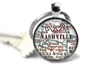 Nashville Keychain, Tennessee map keychain, Nashville map key chain, Custom Tennessee keychains, Customized Keychains, Men Gift Idea, A289