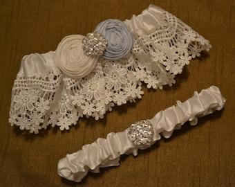 Wedding Garter, Wedding Garter Set, Venice Lace With Dupioni Silk Rosettes With Pearl and Rhinestone Bridal Garter Belt, Something Blue, B38