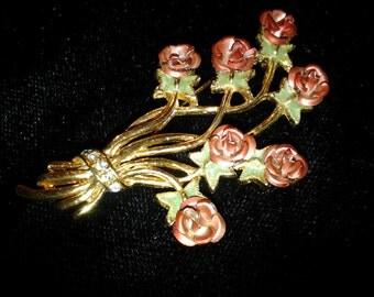 vintage costume jewelry brooch pin flower leaf enamel rose bouquet
