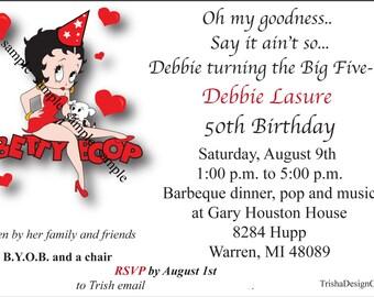 "CUSTOM Betty Boop Theme 50th birthday ""EACH"" Invitation (with envelopes)"