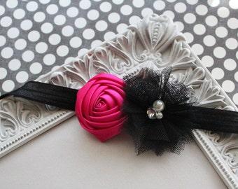 Hot Pink and Black Headband - Baby Headband, Newborn Headband, Girl Headband - Satin and Tulle - Rosette Headband - Sizes Newborn to Adult