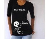 "Maternity Halloween shirt "" Happy Halloween""  with Cute Harry Potter baby skeleton"