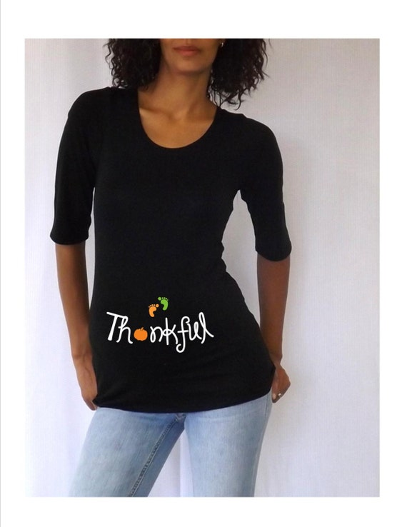"Thanksgiving Maternity Shirt "" Thankful""    3/4 sleeves-  with  baby footprints"