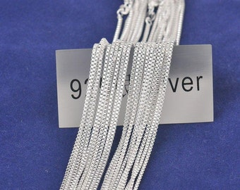 """10pcs 22"""" silver plated box chain chains necklace jewelry box necklaces"""