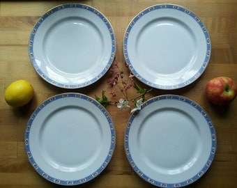 Beautiful Heinrich H&Co Royal SELB Bavaria, Germany Imperial Pink Rose, Blue Gold Band 4 Luncheon Plate Set of Fine China, Shabby Chic GIFT