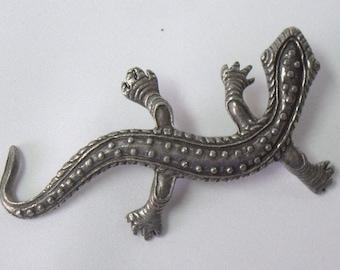 Vintage Gecko Lizard Pewter Brooch Pin Canada