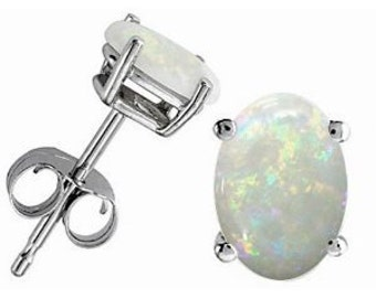 Natural Opal Oval Stud Earrings .925 Sterling Silver Rhodium Finish
