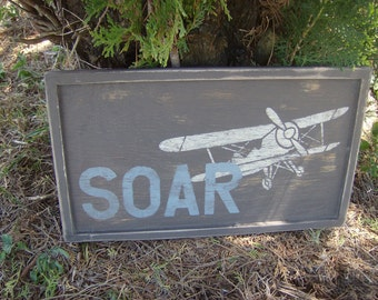 Distressed and vintage look Airplane/biplane soar sign/childs room/blue and brown