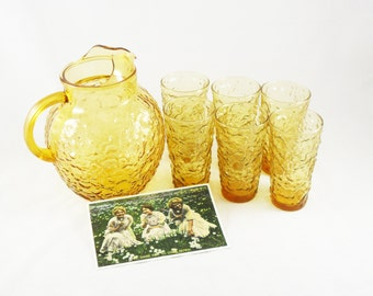1970s Lido Milano Yellow Crinkle Glass Ball Pitcher and 6 Tumblers