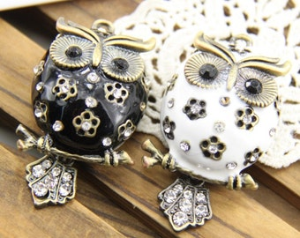 2 pcs  of white and  black  owl  charm pendant with rhinestone  55mm  tall