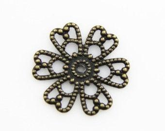48 pcs of 15mm brass filigree flower -1919-antique bronze