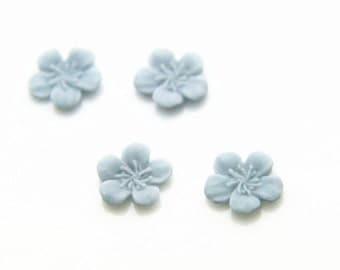 12 pcs of resin flower cabochon 10mm-powder blue