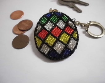 Vintage geometric diamond design beaded coin purse handmade in Korea