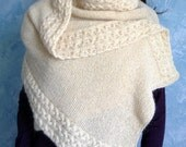 Hand knitted shawl - knitted long scarf - cable knitted scarf - shoulder wrap - strickschal