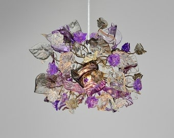 Pendant Light with flowers and leaves at purple, gray and clear color for hall, bathroom or as a bedside lighting.