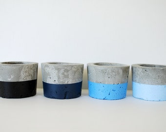 Blue Ombre Concrete Planters - Set of 4 - Indoor Outdoor Planters - Zen Decor