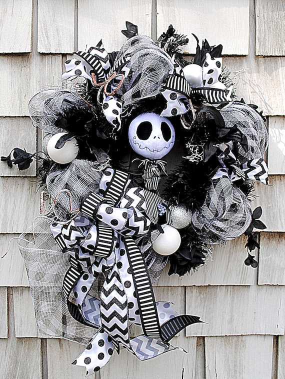 Nightmare Before Christmas Wreath for the Door Jack Skellington Black ...