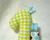 Baby Rattle Soft Teething Toy Giraffe Zebra Horse WASHABLE and Ready To Ship