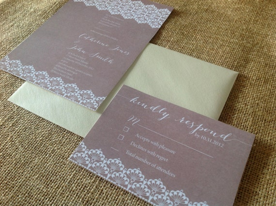 Burlap Wedding Invitations Diy: Burlap Lace Custom Wedding Invitation DIY Printable 5x7