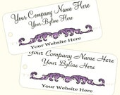 Price Tags Custom Printed Hang or Boutique Tags Personalized for Your Business Purple Eggplant Feather Baroque Damask Design
