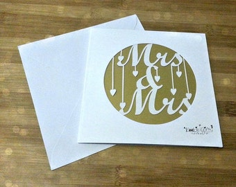 Mrs and Mrs paper cut card