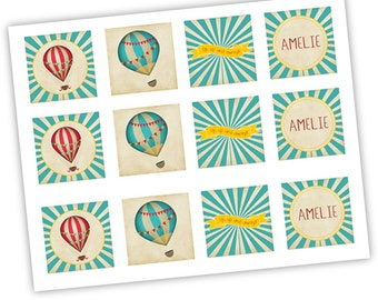 Hot Air Ballon Party Printable Cupcake toppers - INSTANT DOWNLOAD EDITABLE  - Vintage Hot Air Ballon Decoration. Red and Teal