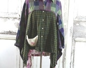 Winter Clearance -Purple and Green Plus Size Tunic Top Eco Fashion Lagenlook Upcycled Clothing Boho Chic