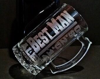 Best Man Mug Set - 2 Personalized Best Man Mugs - Best Man Beer Mugs - Sandblasted Mugs - 16 Ounce Beer Mugs - Engraved Mugs