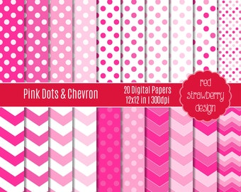 75% OFF Sale - Pink Dots and Chevron - 20 Digital Papers - Instant Download - JPG 12x12 (DP147)