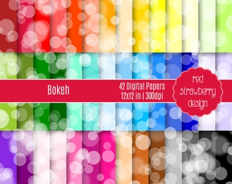 75% OFF Sale - 42 Digital Papers - Bokeh - Instant Download - JPG 12x12 (DP208)