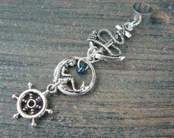 nautical mermaid ear cuff  mermaid siren anchor ship wheel  in boho gypsy hippie hipster  beach  resort and fantasy style