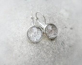 Silver glittered drop earrings,Glass cabochon earrings,Silver glittered cabochon earrings,cabochon earrings,Sparkly silver earrings