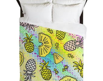 popular items for couette ananas on etsy. Black Bedroom Furniture Sets. Home Design Ideas