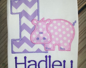 Personalized Hippo Birthday Shirt / First Birthday Shirt / Girls Birthday Shirt