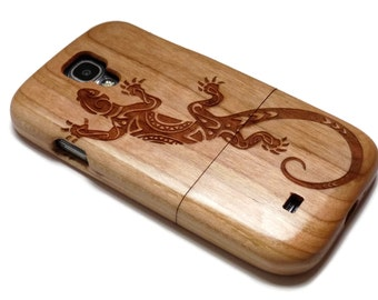 wooden Samsung Galaxy S4 case - real wood S4 case walnut / cherry or bamboo -  Lizard