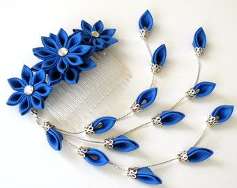 Kanzashi Fabric Flower hair comb . Royal blue flower hair comb. Royal blue kanzashi.
